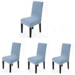 4 pieces Spandex Stretch Washable Dining Room Chair Cover Protector Seat Slipcovers (Light Blue, 4)