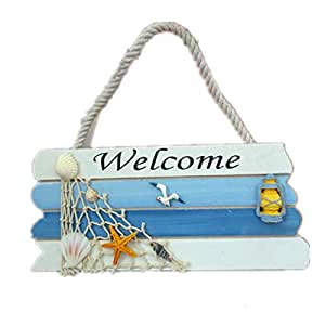 Nautical Wood Decorative Hanging Welcome Sign
