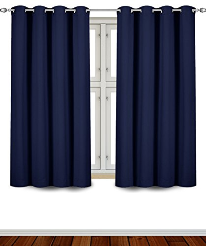 Utopia Bedding Blackout Room Darkening and Thermal Insulating Window Curtains/Panels/Drapes - 2 Panels Set - 8 Grommets per Panel - 2 Tie Backs Included (Navy, 52 x 63 Inches with Grommets)