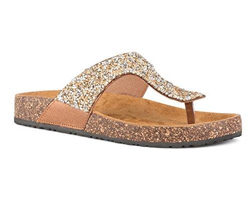Sandals Glitter (Twisted Women's Payton Glitter Cork Sole Sandal - PAYTON31BRONZE, Size 8)