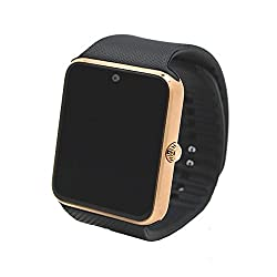 Alike C08 Men & Women Fashion Bluetooth Smart Watches Can Phone & Camera Sports Watch(gold With Black Band)