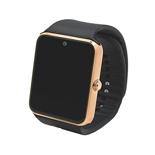 (Alike C08 Men and Women Fashion Bluetooth Smart Watches Can Phone and Camera Sports Watch(gold with Black Band))
