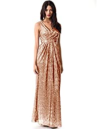 Miss Mint Women\'s Sleeveless Deep V Neck Sequined Evening Gown Ruched Bodice (8, Rose Gold)