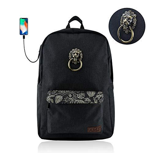 AMJ School Backpack Laptop Backpack Stylish Travel Computer Bag for Women Men School Bookbag with USB Charging Port