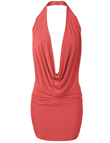 - Luna Flower Women's Sexy Low Cut Halter Dress - Fitted Plunge Party Dress Coral Medium (GDRW064)