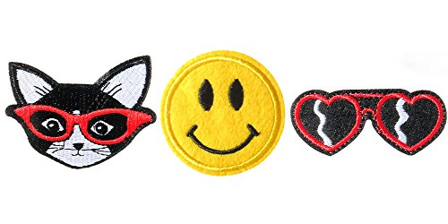 Frogsac Set-3 Emoji Embroidered Motifs Decoration Patches Applique sets, Iron-on or Sew-on (Cat - Smiley Face - Heart - Sunglass Smiley