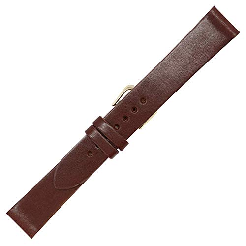 18mm British Brown - English Bridle Leather - Flat Watch Strap Band - Gold and Silver Buckles Included - Factory Direct - Made in USA by Real Leather Creations FBA237
