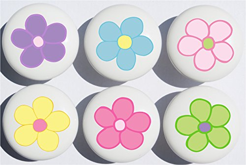 Pastel Daisy Flower Drawer Pulls/Ceramic Nursery Drawer Knobs, Set of 6 (Daisy Flower Knob)