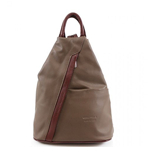 Women Gym School Pelle VPR244 Bags Ladies Leather Girls Rucksacks Vera Backpacks Brown Khaki Italian Soft 8RqxAvnT