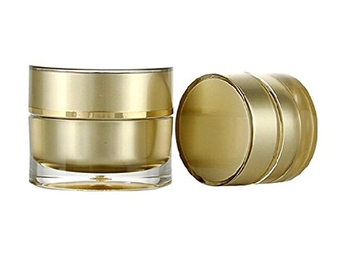 2PCS 10G/10ML 0.34oz Golden Acrylic Empty Bottle Cream Jar Pot Eye Shadow Nails Powder Jewelry Sample Storage Cosmetic Case Travel Emulsion Skin Care Make Up Bottles Pill Box