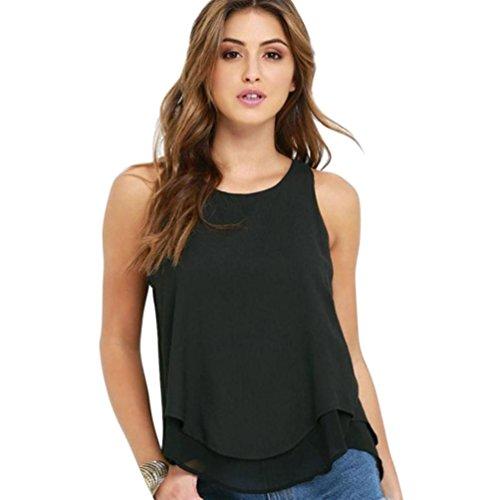 Sexyville Dbardeur Femmes Col Rond Mousseline de Soie Volants Chemises Sans Manche Et Gilet Casual Tops T-Shirt Tank Noir