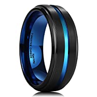 King Will Mens 8mm Black Brushed Finish Tungsten Carbide Ring Blue Thin Beveled Stepped Edge Wedding Band