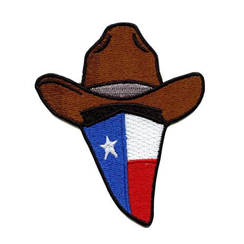 - Texas Flag Cowboy Bandana Embroidered Iron On Applique Patch