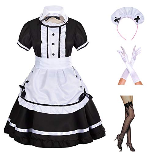 Japanese Anime Sissy Maid Dress Cosplay Sweet Classic Lolita Fancy Apron Maid Dress with Socks Gloves Set (Black)(3XL = Asia 4XL)(NY01) -