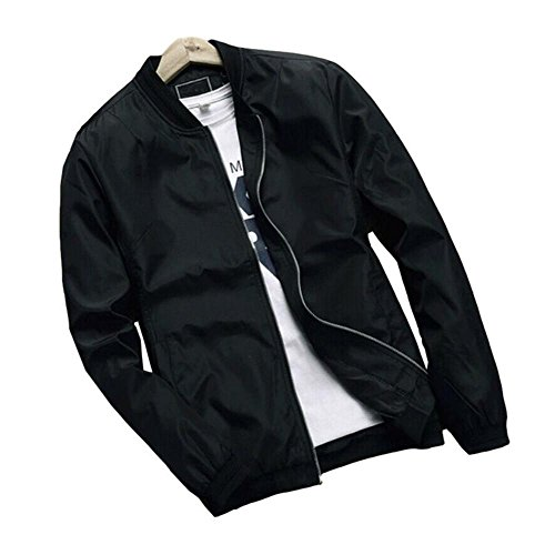 Hzcx Fashion Men's Classic Soild Color Thin Light Weight Flight Bomber Jacket (Black,L(44))