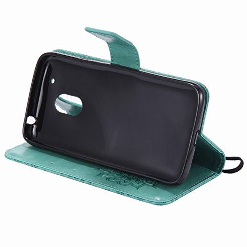 Yiizy Motorola Moto G4 Play Custodia Cover, Sole Petali Design Sottile Flip Portafoglio PU Pelle Cuoio Copertura Shell Case Slot Schede Cavalletto Stile Libro Bumper Protettivo Borsa (Verde)