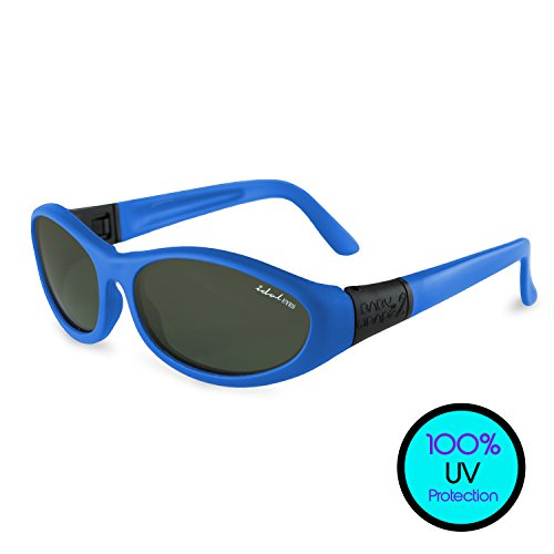 Convertible Toddler Sunglasses (UVA UVB Protection) – BabyWrapz 2 Kids Sunglasses Age 2 & Younger w/ Removable Temples, Silicone Ear Locks & Headbands -Idol Eyes - Sunglasses A Month