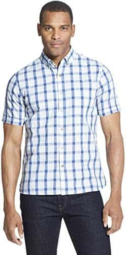 Van Heusen Men's Slim Fit Never Tuck Short Sleeve Button Down Shirt