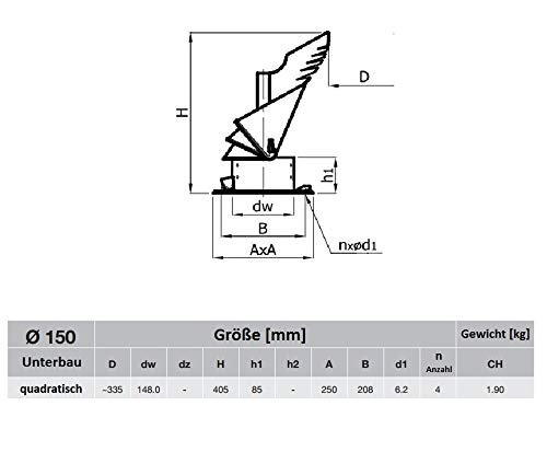 6 ROTOWENT DRAGON Neu automatisch Edelstahl Drehbarer Kaminaufsatz Schornsteinaufsatz Regenhaube 150 mm Mit Bodenplatte.