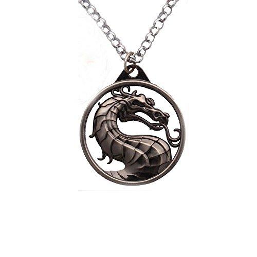 - Generic Mortal Kombat Vintage Charms Dragon Amulet Necklace Grey Pendant