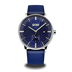 Men's Unique Wrist Quartz Analog Watch with Blue Leather Band, Dress Casual Classic Waterproof Business Watches with Stainless Steel Case and Calendar Date Window