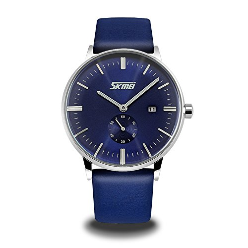 Watch Blue Face Leather Band - 4