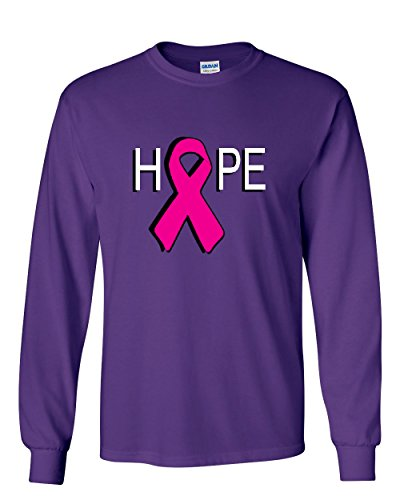 HOPE Breast Cancer Awareness Pink Ribbon Long Sleeve T-Shirt Purple L (Purple Cancer T-shirt Ribbon Hope)