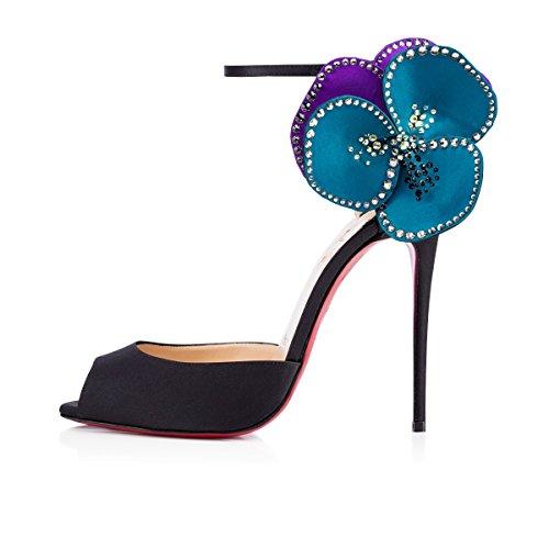 LIVY estilo europeo atractivo sandalias romanas negro zapatos de tacón alto - pétalos de arrastre sala de la moda de los zapatos de dama de honor casada Negro