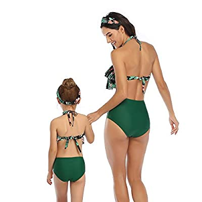 2Pcs Mommy and Me Matching Family Swimsuit Ruffle Women Swimwear Kids Children Toddler Bikini Bathing Suit Beachwear Sets: Clothing