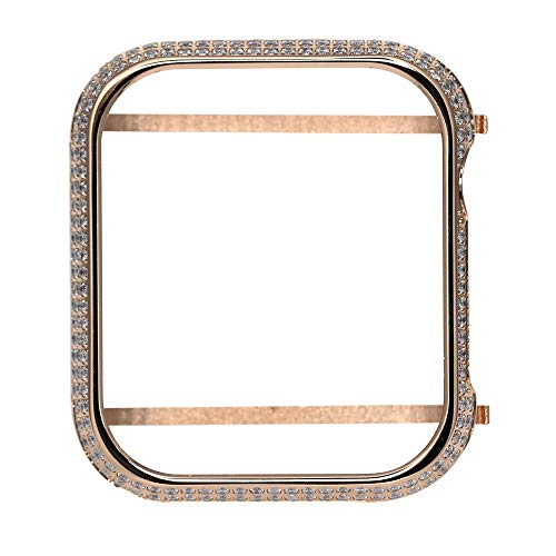 Series Diamond Edge (UKCOCO Compatible Apple Watch Bling Case, Sparkle Rhinestone Glitter Diamond Aluminum iWatch Face Cover Metal Bezel Protective Frame Edge Protector Bumper for iWatch Series 4 (B-40mm Rose Gold))