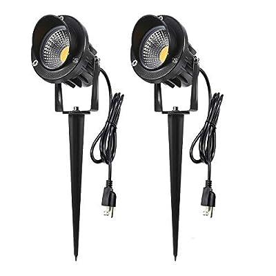 ProGreen Outdoor LED Landscape Lights, 5W LED Decorative Spotlight Lamp Ground Spike, 3000k Warm White LED Wall Lights, Waterproof IP65 LED Garden Lighting