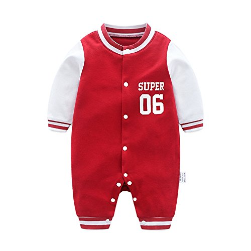 DOESLOOK Newborn Baby Boys Baseball Romper Infant Long Sleeve Outfits Kids Clothes Toddler Jumpsuit for Spring Full Winter (0-3 Months, 014 red)