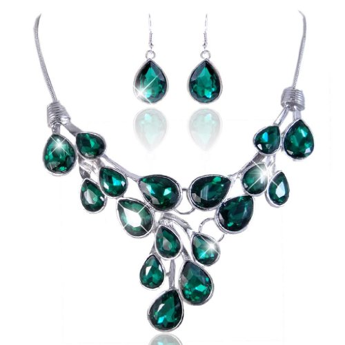 EVER FAITH Stunning Teardrops Emerald Color Austrian Crystal Necklace Earrings Set Silver-Tone ()
