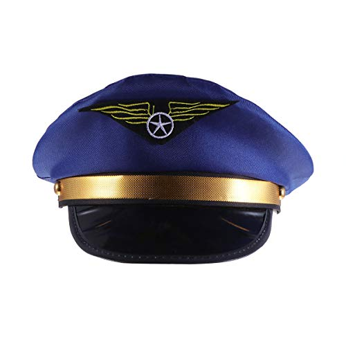 Amosfun Adults Airplane Captain Hat Cosplay Cap Performance Props Party Role Playing Hat Party Hats Halloween Costumes -