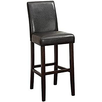 Amazon Com Coaster Bar Stools Black Leather Like Cherry