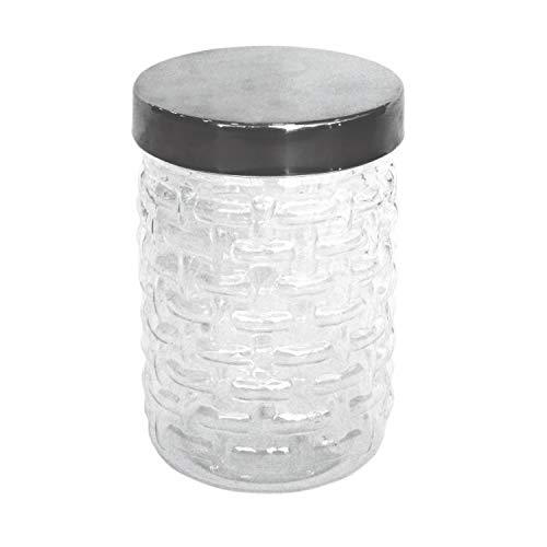 Princeware Plastic Food Storage Jar/Canister, Clear Base with Chrome Effect Lid, 500ml]()