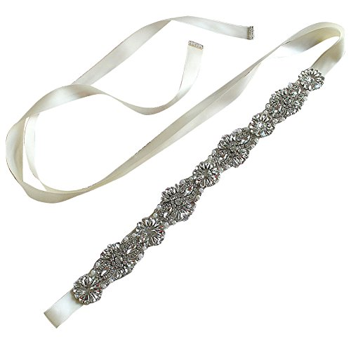 Womens BlingBling Wedding Sash Belt for Brides Prom Party Evening Dresses Diamond Ribbon,Ivory (Belt Silk Beaded)