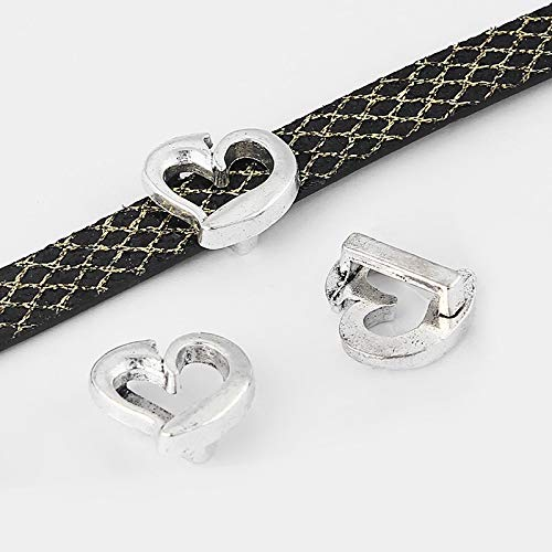 - Laliva 20pcs Antique Silver Heart-Shaped Slider Spacer Beads Findings for 10mm Flat Leather Cord Jewellery Accessories
