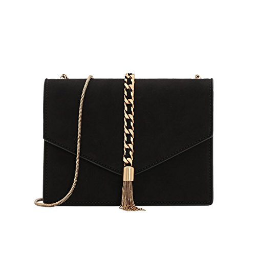 Charles & Keith PU Tassel Detail Envelope Bag Small Chain Strap Shoulder Handbag (Rose Gold / Black) (Black)