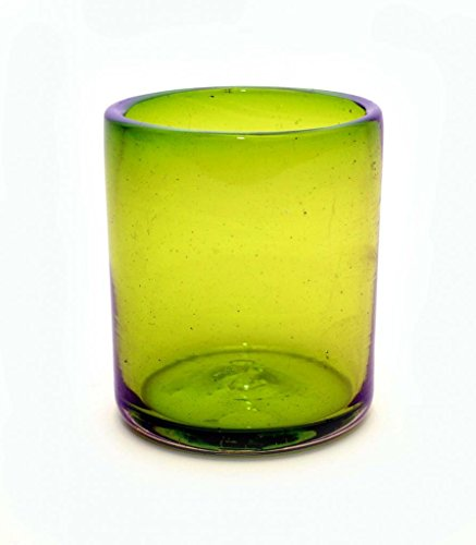 SET OF 4, LEMON LIME DOUBLE OLD FASHIONED ROCKS GLASSES, 12 OUNCES. RECYCLED GLASS. HANDMADE. ()