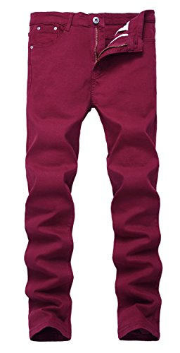 - Men's Burgundy Skinny Slim Fit Stretch Straight Leg Fashion Jeans Pants, 36W