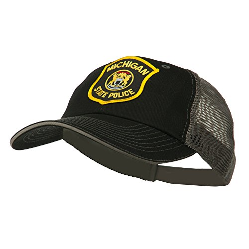 (E4hats Eastern Michigan State Police Patched Big Washed Mesh Cap - Black Grey)