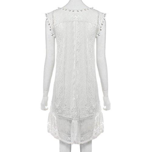 WEUIE Women Casual Tank T Shirt Dress Lace Sleeveless Beach Short Dress Beachwear Tassel Mini Dress White by WEUIE (Image #6)