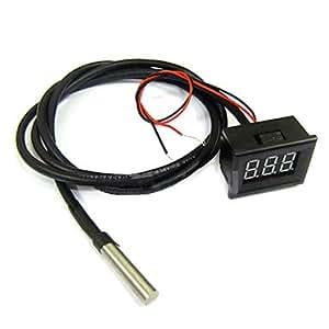 compra Monitor del metro de Nueva Temperatura DC 12V 24V Termómetro Digital Rojo LED -55 ~ 125 grados
