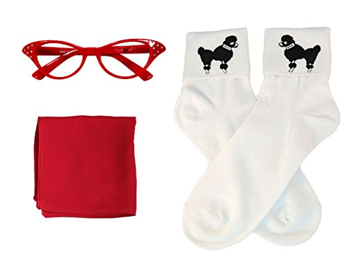[50s Costume Accessory Set Chiffon Scarf, Cat Eye Glasses and Bobby Socks for Women, Red] (Fifties Outfit)