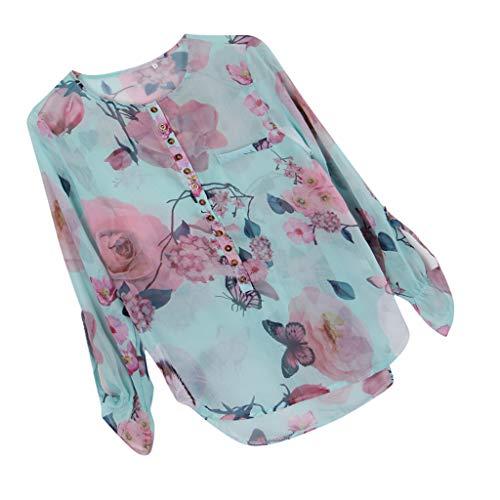 Bouton Blanc T Papillon Fenteer avec Femme Mousseline shirt Floral de La Taille Haut Plus en 4XL Soie L pT6HTnqU