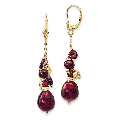 - 14k Yellow Gold Red Garnet 10mm Cranberry Freshwater Cultured Pearl Leverback Earrings Lever Back Drop Dangle Fine Jewelry Gifts For Women For Her
