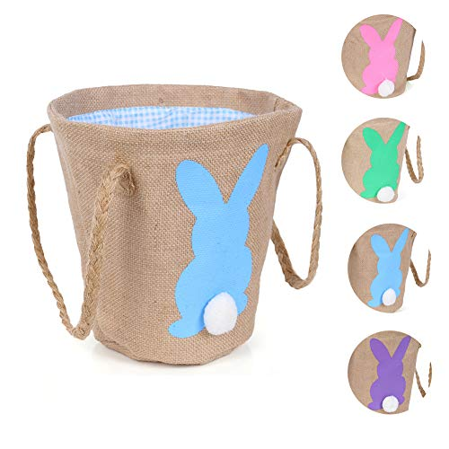 Warmhol Easter Egg Basket for Kids Bunny Burlap Bag to Carry Candy and Gifts for Festival Party Blue]()