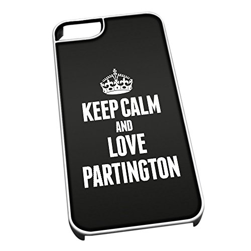 Bianco cover per iPhone 5/5S 0483 nero Keep Calm and Love Partington