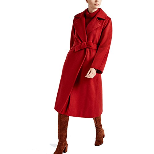 Cashmere Womens Overcoat - 2017 New Female Pure Hand Cashmere Overcoat In Autumn and Winter (Red, Medium)